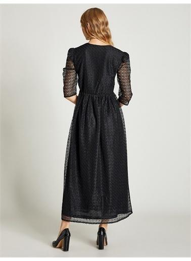 Vekem-Limited Edition Beli Büzgülü Dantel Elbise Siyah